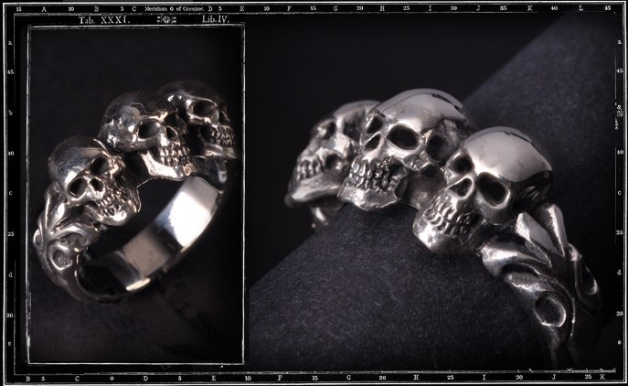 Tudor Three Skull ring