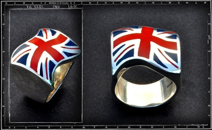 Union Jack Ring (Red & Blue Enamel)