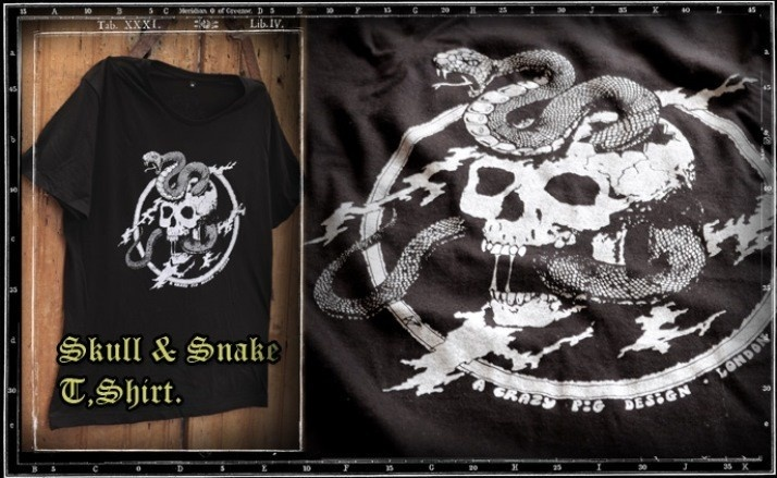 Crazy Pig Designs Skull & Snake T-Shirt