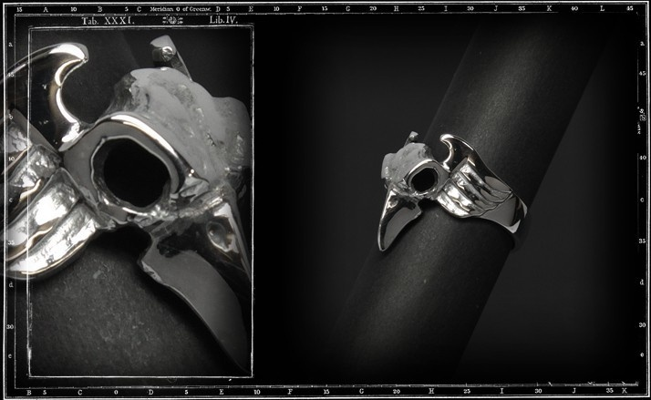 Small winged bird skull ring