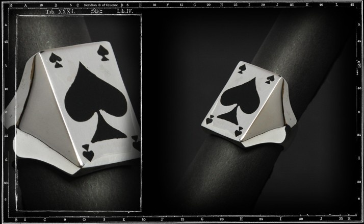Aces of spades ring (whole card enamel)