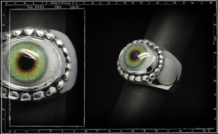 Heavy beaded eye ring