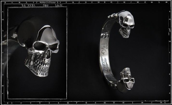 Two skulls bangle (heavy)