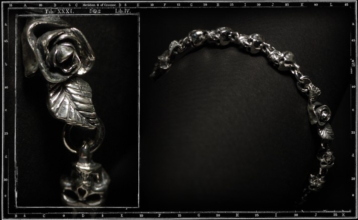 Rosary skull and rose bracelet