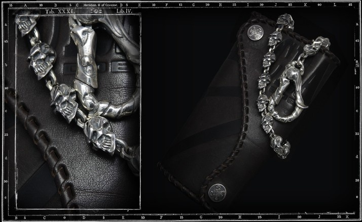Grin skull wallet chain