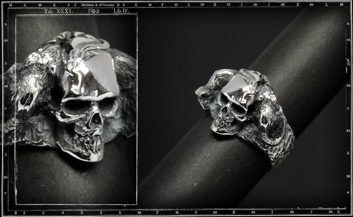Rest in peace skull ring