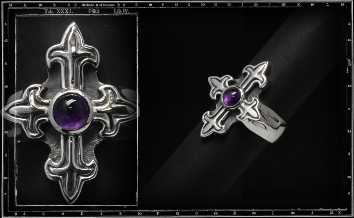 Gothic cross Stone ring