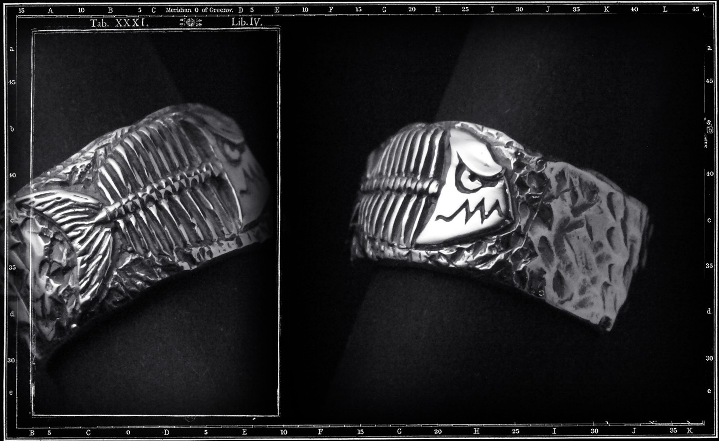 PIRAHNA FOSSIL RING