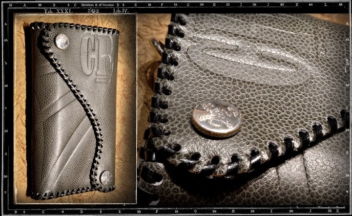Custom Crazy Pig Grey Leather Wallet