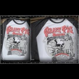 Crazy Pig Designs 25th Anniversary baseball tee