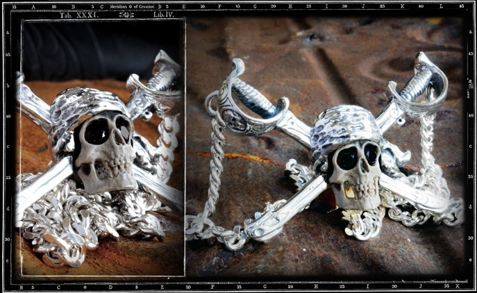 Collectors Series - Ghost Pirate skull necklace