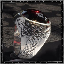 Celtic Dog stone ring