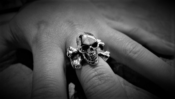 3d skull & cross bones ring (large)