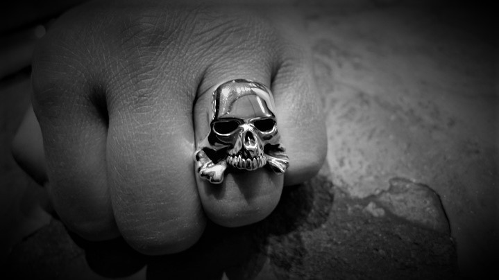 Small Evil Skull and Bones Ring