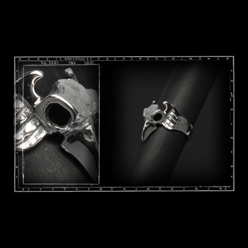 Small winged bird skull ring