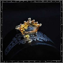 Marquise Crown Setting ring in 9ct Yellow Gold with Citrine