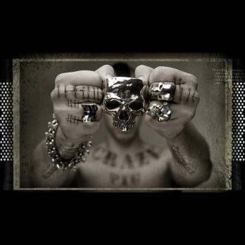 Skull & Crossbones and Union Jack ring- both black enamel