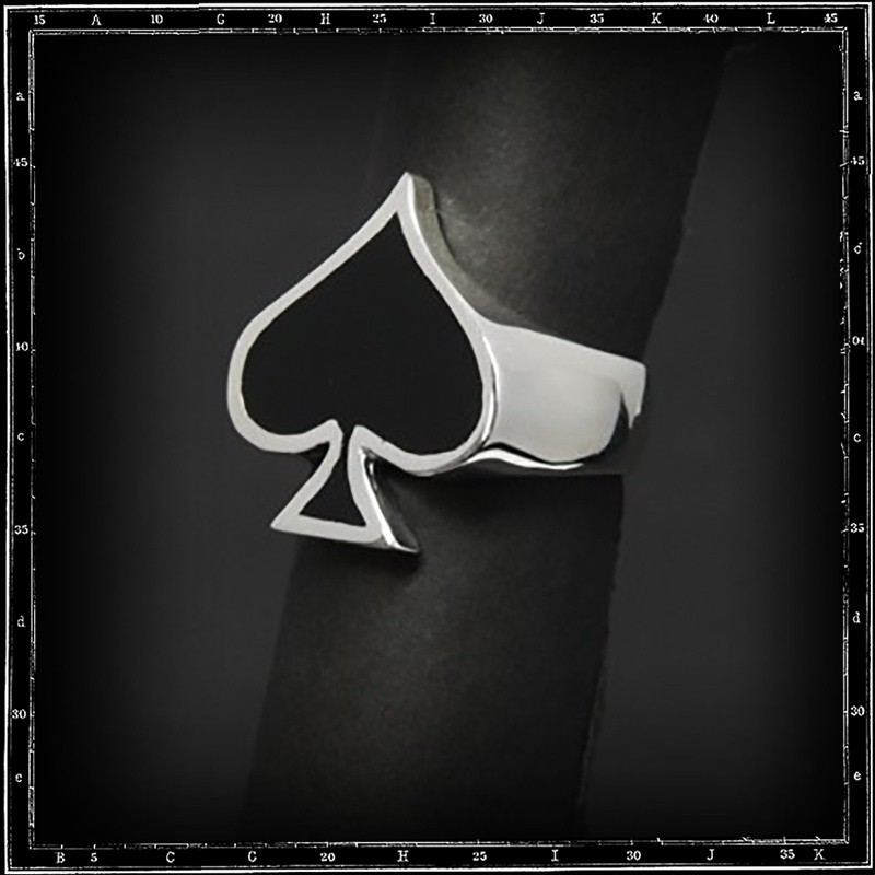 Ace of spades ring (enamel)