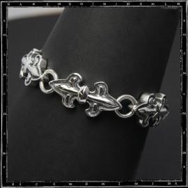 Double heavy fleur de lys bracelet