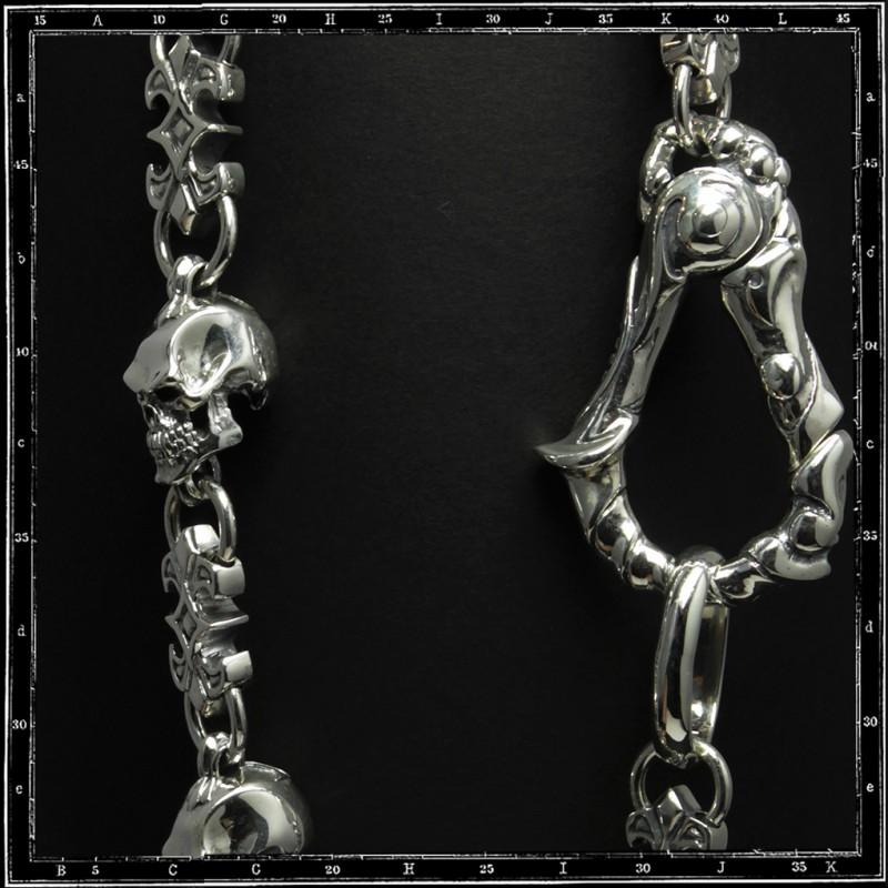 Skull & link wallet chain