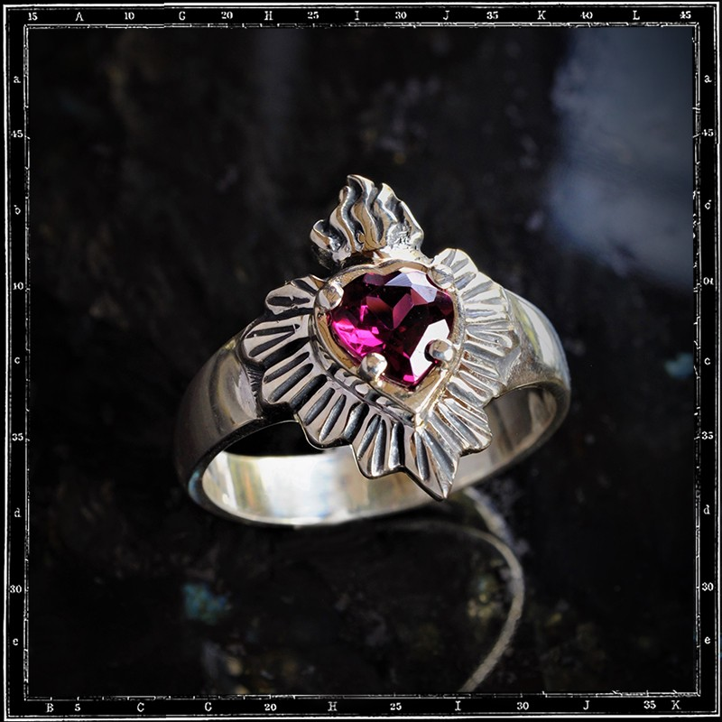 Milagro Mexican Sacred Heart Stone Ring