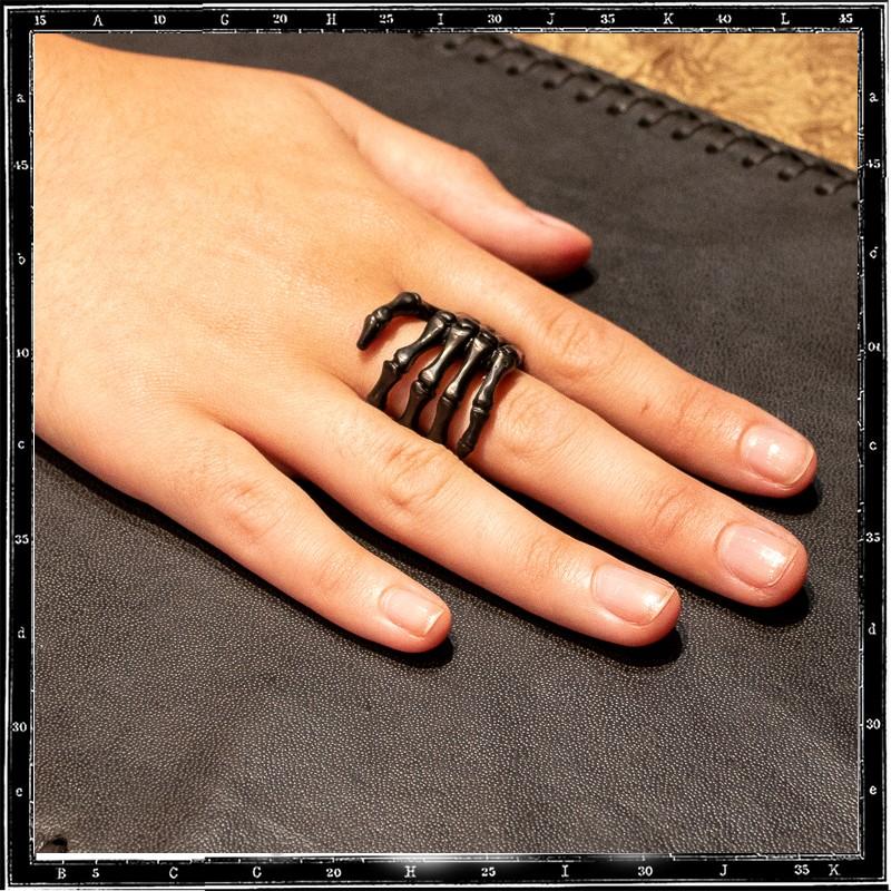 large bone hand ring (Custom Rhodium Plating)