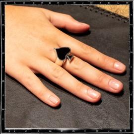 Ace of spades ring (enamel)