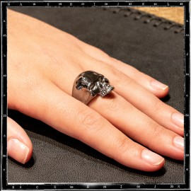Rhodium Plated Small Evil Skull Ring (additional cost for plating)