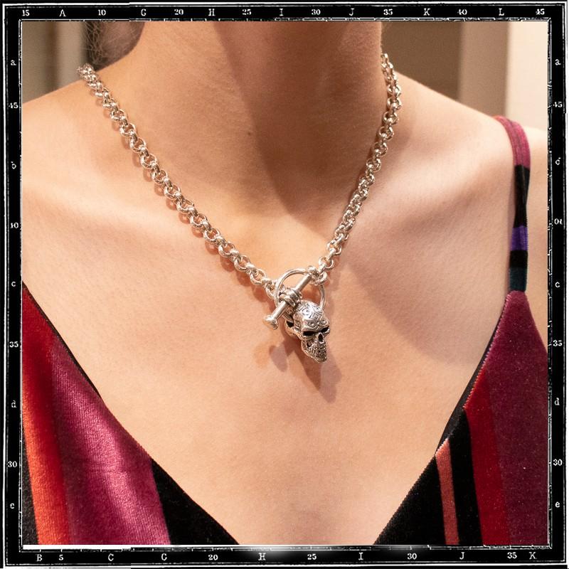 Engraved skull pendant (chain sold separately)