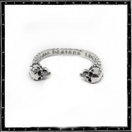Braided two skulls bracelet