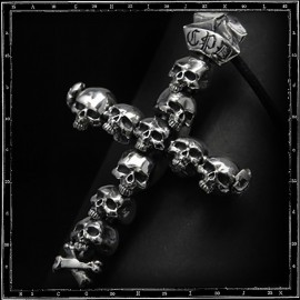 Catacombs  skulls cross pendant