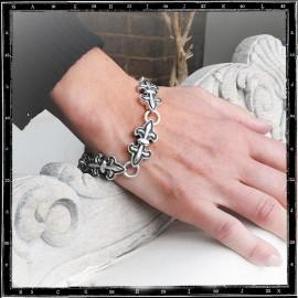 Double Fleur de Lys bracelet (Thick)