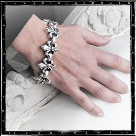 Heavy Fleur de Lys link bracelet
