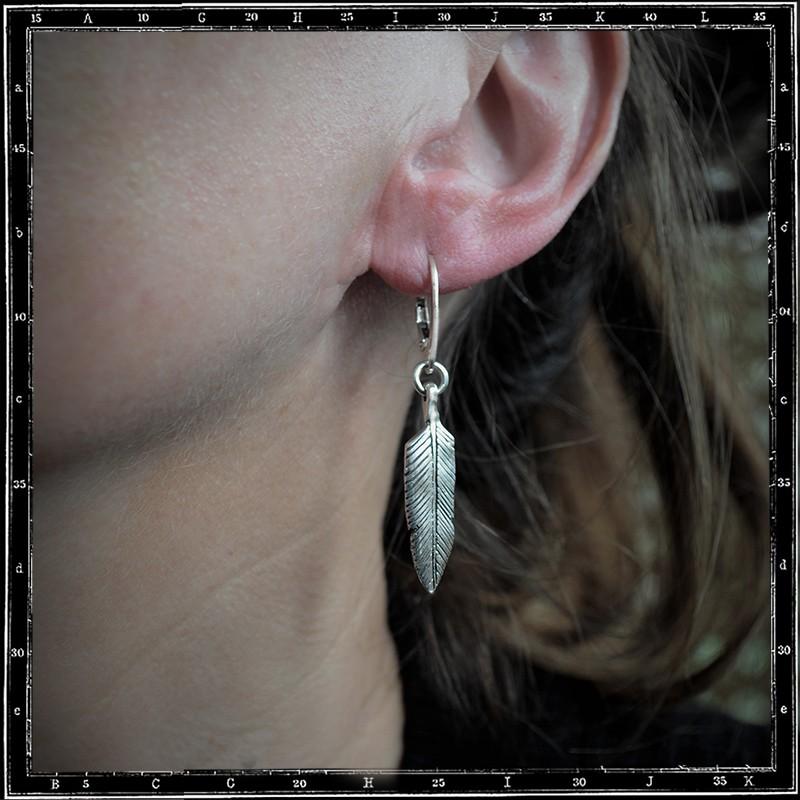feather hoop earrings (small)