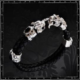Tiger Heads leather bracelet