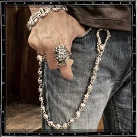 Grin skull wallet chain