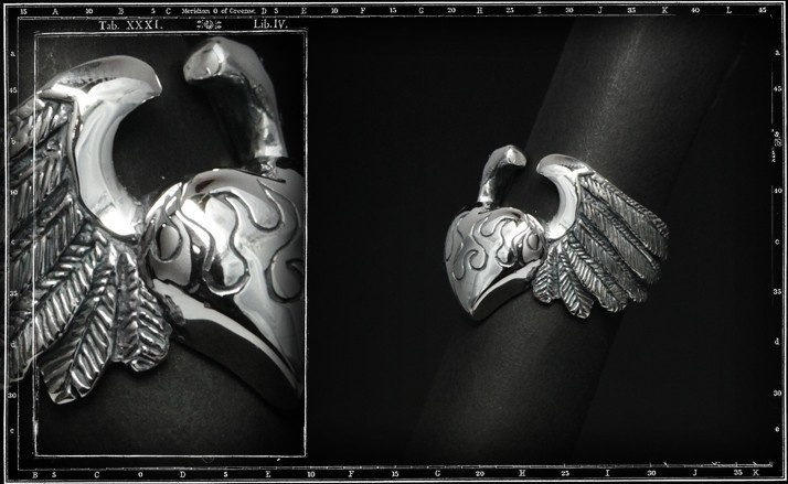 Large heart and wings ring