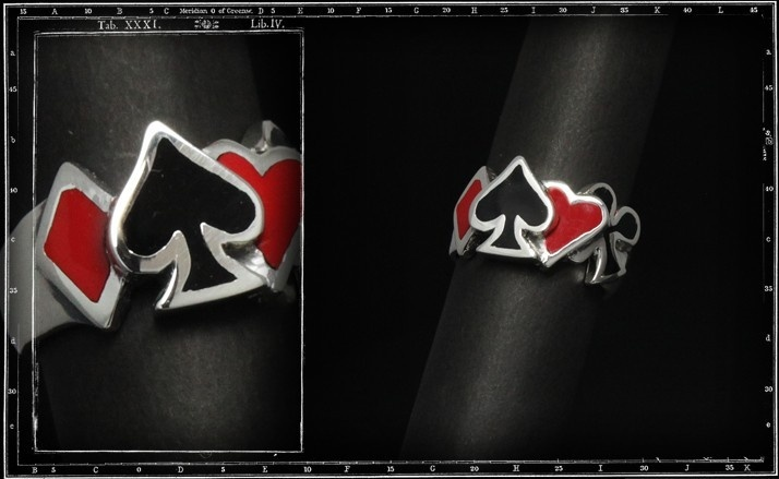 Four aces ring (red & black enamel)