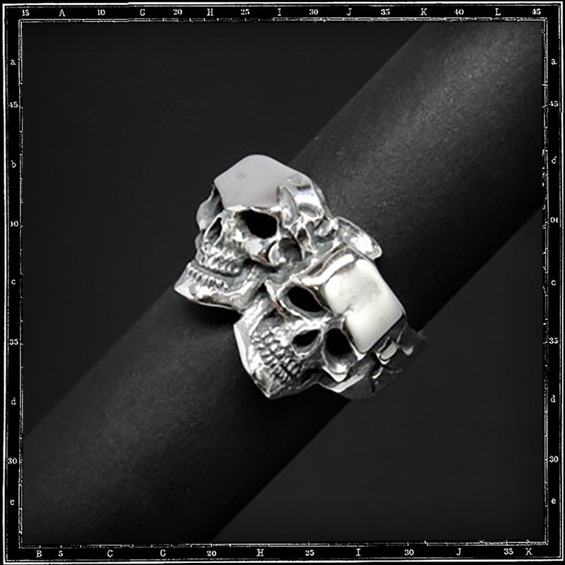 Comedy & tragedy skull ring