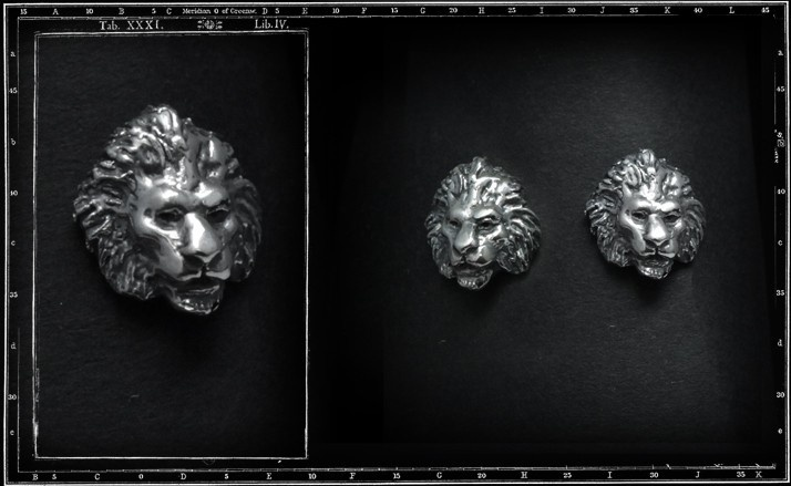 Lion head stud/earring